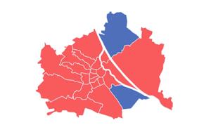 Wienkarte: Mehrheitspartei pro Bezirk eingezeichnet