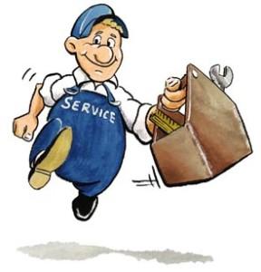 Symboldbild Dienstleistungen, man sieht einen gezeichneten Handwerker in blauer Latzhose