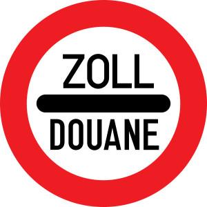 Symboldbild freier Warenverkehrt, Abbildung eines Zoll-Schildes